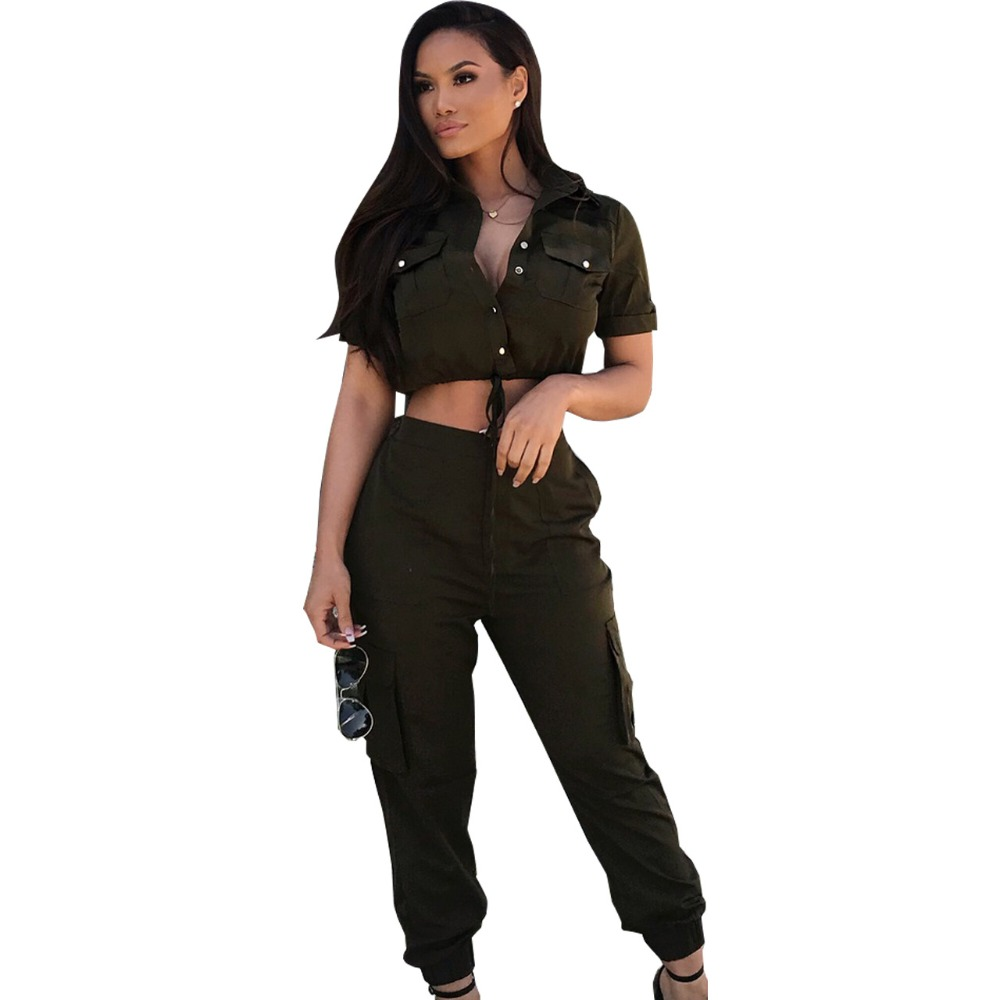 a038417a93d Casual Army Green Buttons Up 2 Piece Set Leotard Women Turn Down Collar  Short Sleeve Crop Top Long Pant Jumpsuit With Pockets