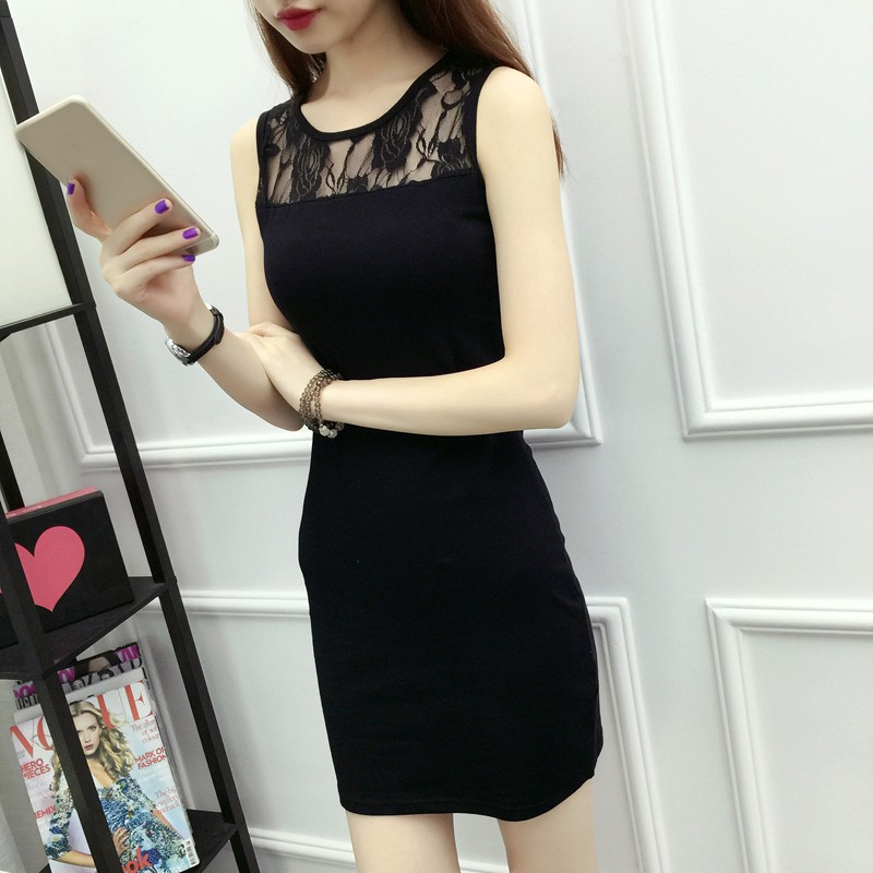 Newest Women Sexy Fashion Club Style Clothing Summer Plus Size Black Dress Black O Collar Lace Sing Vest Bottoming Hip Dress