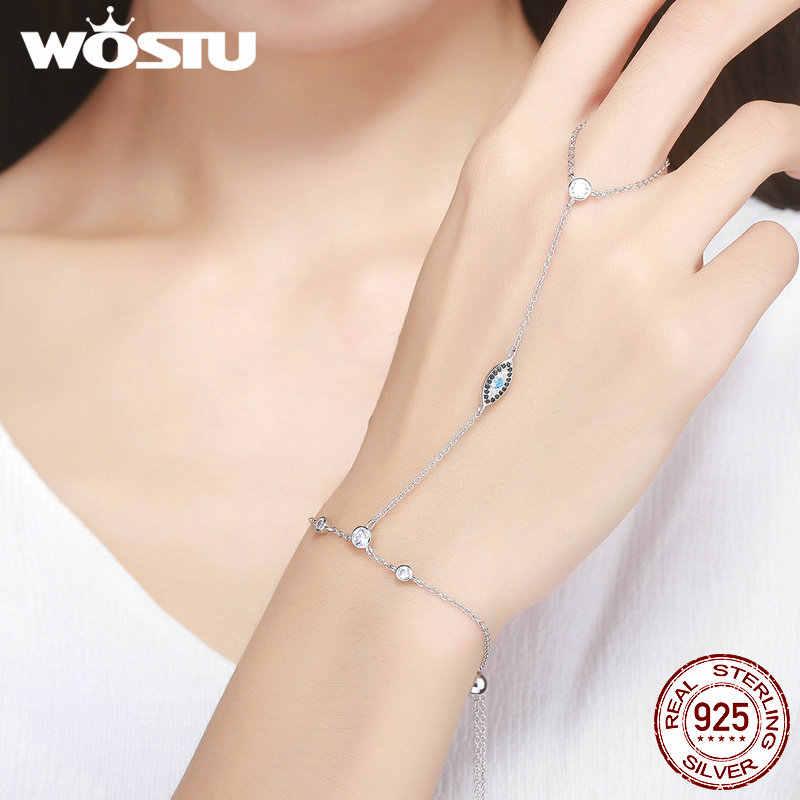 WOSTU חדש סגנון 100% 925 סטרלינג כסף שטן של תלמיד הכחול עיניים צמיד לנשים בסדר S925 תכשיטי מתנה CQB023