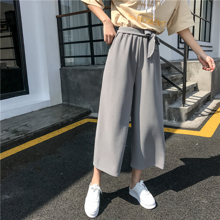 19 Women Casual Loose Wide Leg Pant Womens Elegant Fashion Preppy Style Trousers Female Pure Color Females New Palazzo Pants 43