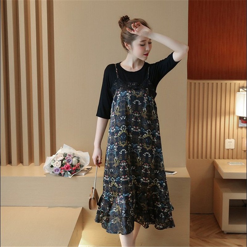 Spring and Summer 2018 New Maternity Printing Tank Dress Lace Splice Flowers Black T Shirt 2 Piece For Pregnant Women Clothing trendy one button sleeveless lace hem black asymmetric t shirt for women