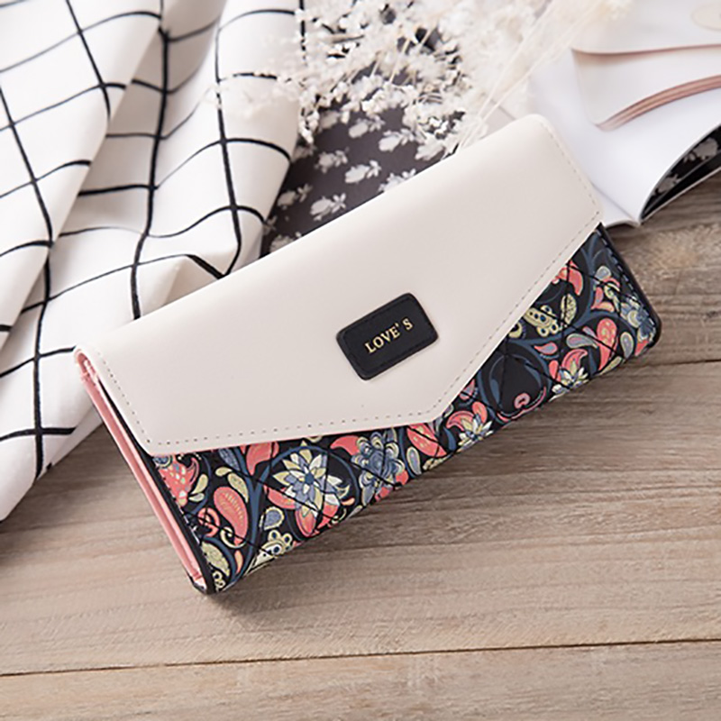 Folding Wallet Handbags Purse Phone-Pocket-Card-Holders Flower-Pattern Bohemian-Style title=