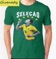 Neymar Brasil Camisa Copa Do Mundo novo design Chegada camisa dos homens T 2016 verão de algodão moda impresso T camisa Euro tamanho