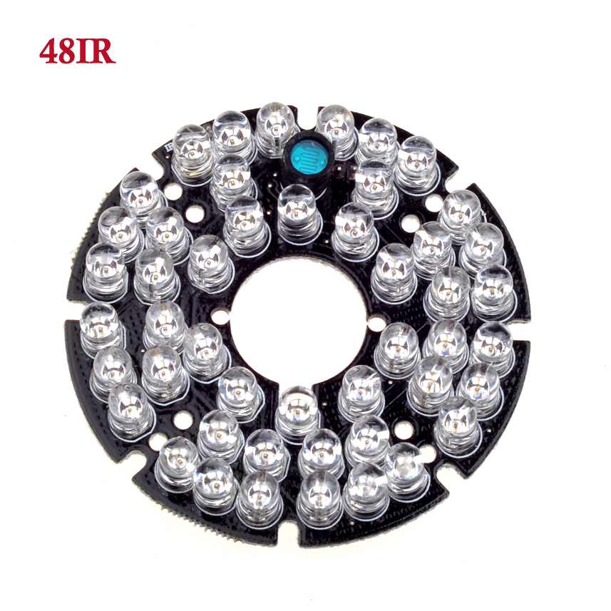 48 LEDs 5mm Infrared IR 90 Degrees Bulbs CCTV Led Board 850nm For Security Surveillance Cameras 48 leds 5mm infrared ir 60 degrees bulbs board 850nm illuminator for cctv camera