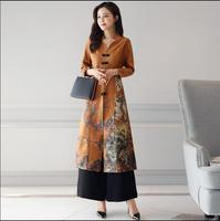 Fashion Cheongsam Top Wide Leg Pants Suit Woman Traditional Chinese Dress Improvement Cheongsam