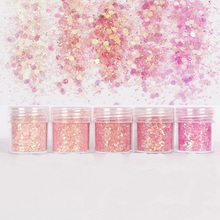 5 Box Rose Pink Chunky Nail Glitter Mixed Size Hexagon Shape Sequin Paillettes Art Sparkles Manicure Dust