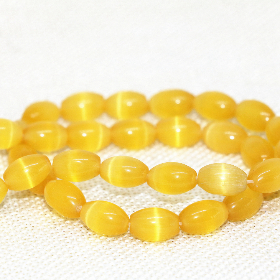 """8x12mm Yellow Mexican Opal Gemstone Rice Loose Beads 13/"""""""