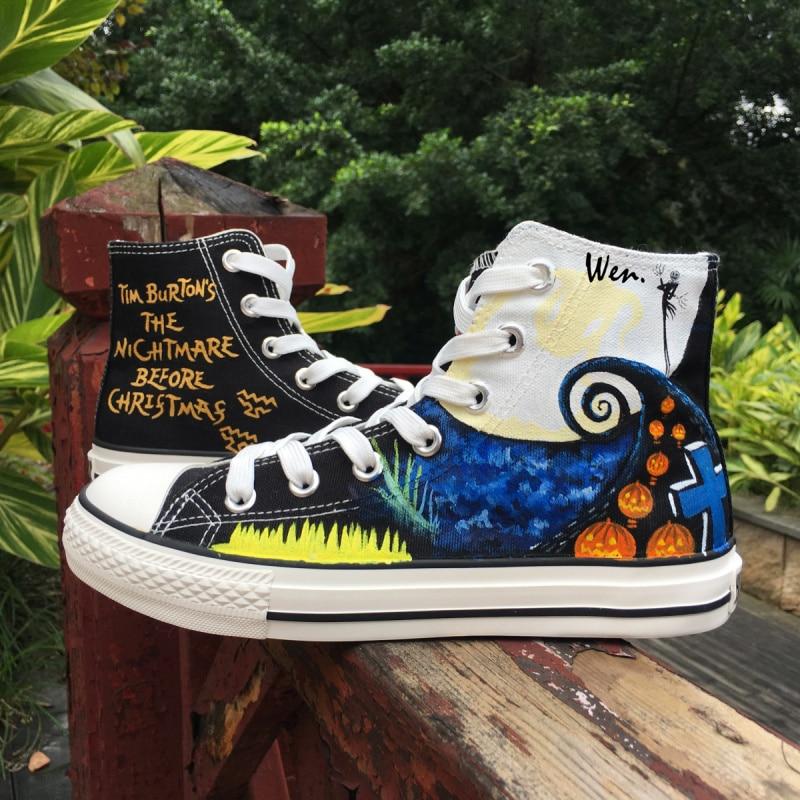 Wen Black Hand Painted Shoes Design