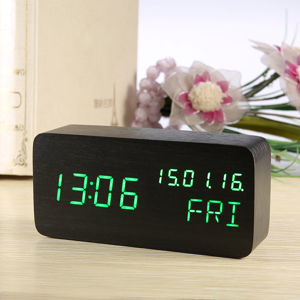 Wood Table Clock Led Display Electronic Desktop Modern Digital Clock Thermometer Calendar Alarm Clocks Watch With Nightlight USB