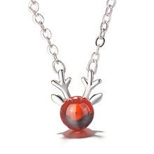 imixlot Hot New 925 Sterling Silver Antler Necklace Korean Small Fresh Girl Heart Strawberry Crystal Cute Animal