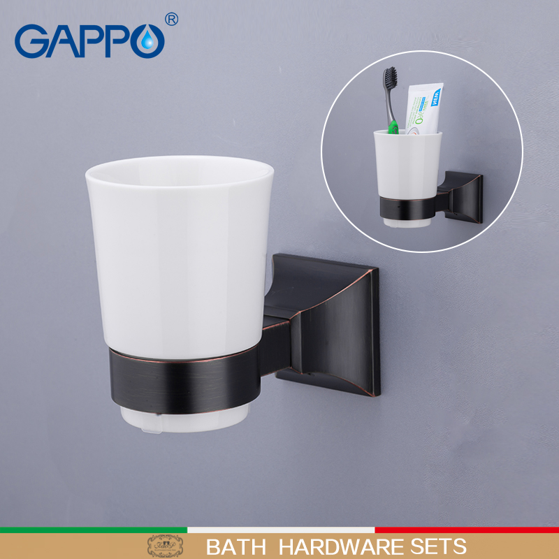 GAPPO Cup Tumbler Holders Brass Single cup glass holders Wall mounted Bathroom accessories toothbrush Tooth Cup holder image