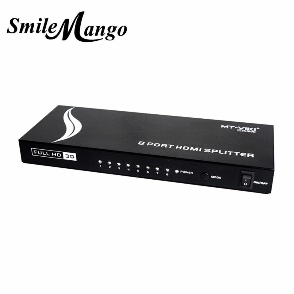 MT-VIKI amélioré 8 ports HDMI répartiteur distributeur vidéo partage 1 entrée à 8 sorties plusieurs moniteur LCD synchronisation affichage MT-SP108m