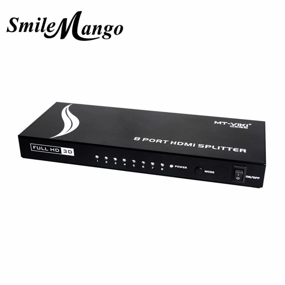 Upgraded MT-VIKI 8 Port HDMI Splitter Distributor Video Sharing 1 Input to 8 Output Multiple LCD Monitor Synch Display MT-SP108m mt viki dv4h 4 port dvi splitter distributor video sharing 1 input to 4 output multiple lcd monitor synch display mt dv4h