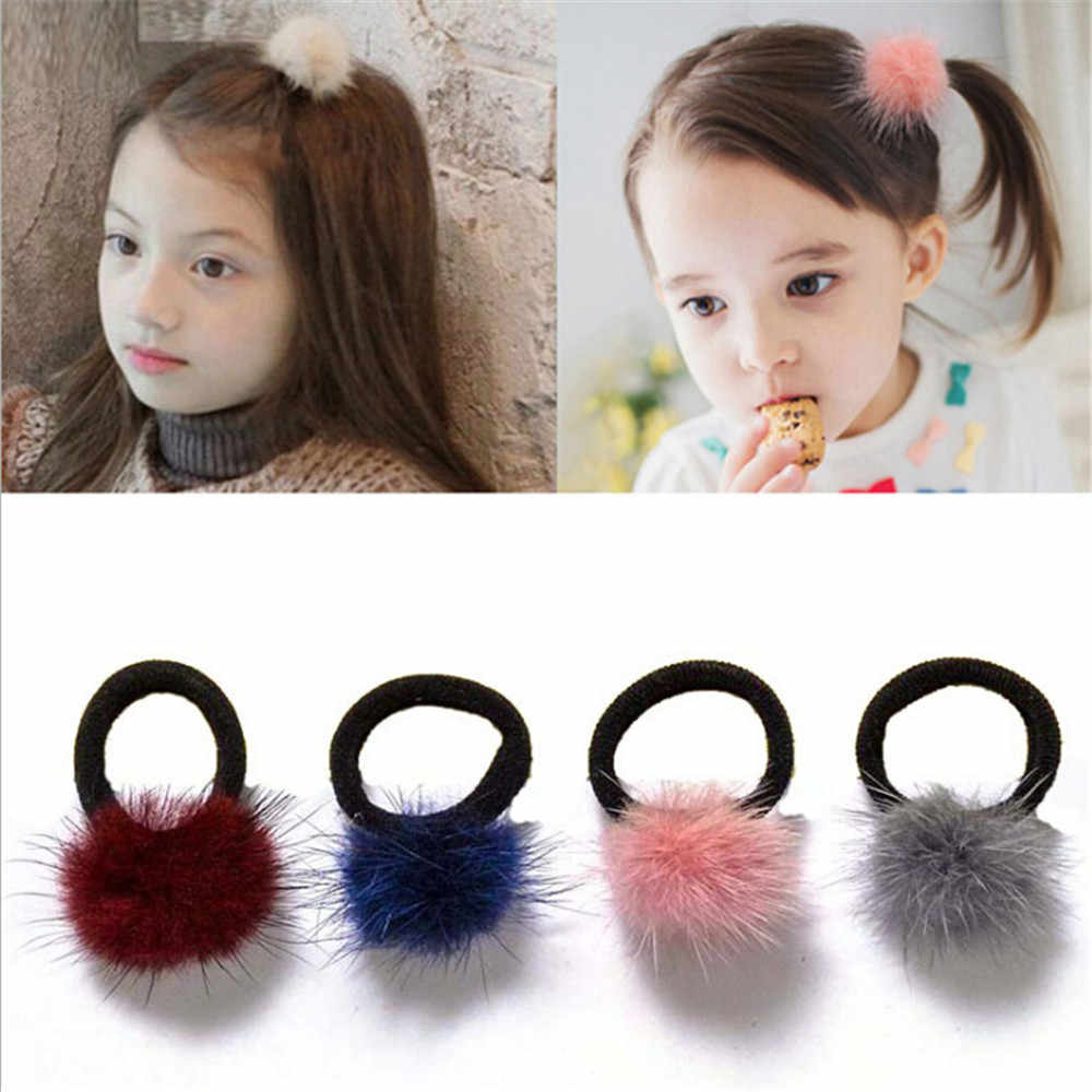 1 Pcs Baby Kids Cute Hair Accessories Headwear Mini Mink Ball Rubber Headbands Girls Children Solid Color Elastic Hair Band