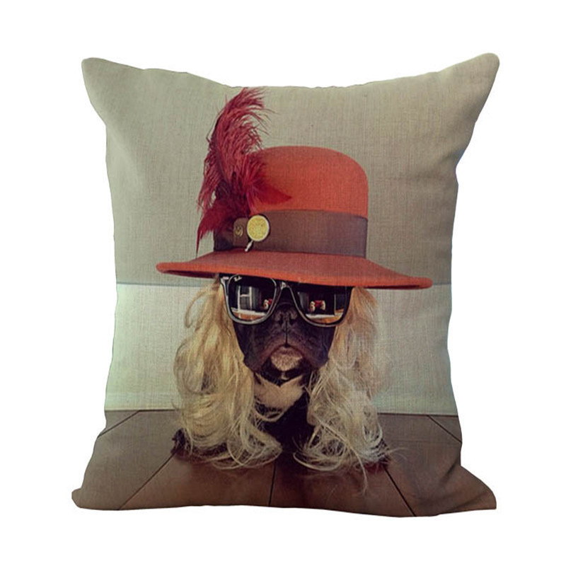 Home soft and comfortable Pillowcase with red hat and wig bulldog dog