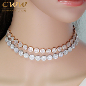 Image 1 - CWWZircons Adjustable Size Fashion Rose Gold Color Micro Pave Round Cubic Zirconia Baguette Chokers Necklace For Women CP006