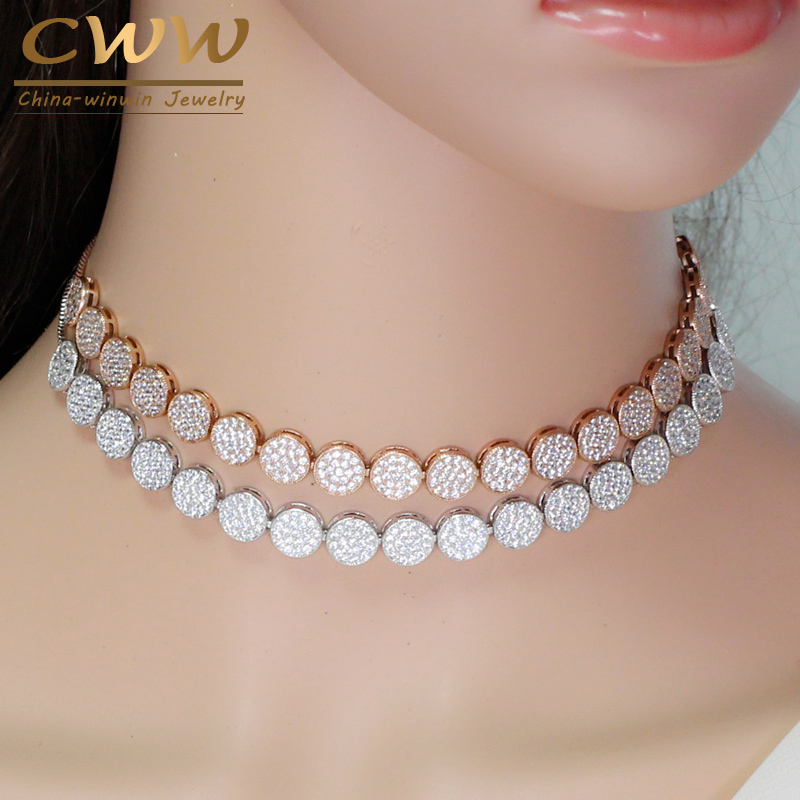 CWWZircons Adjustable Size Fashion Rose Gold Color Micro Pave Round Cubic Zirconia Baguette Chokers Necklace For Women CP006