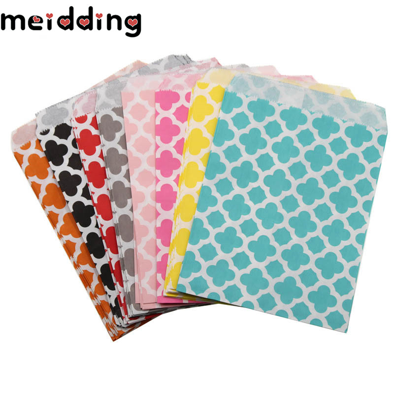 MEIDDING 25Pcs 5x7 Multicolor Chevron/Flower Grease Food Paper Bags Kids Baby Shower Wedding Decor Birthday Party Supplies