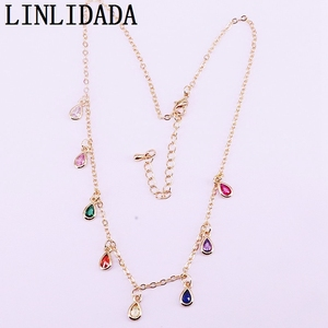Image 4 - 6Pcs New Sparking Micro Pave multicolors rainbow cz drop/square/oval/round Pendant Charms Necklace gold color fashion jewelry