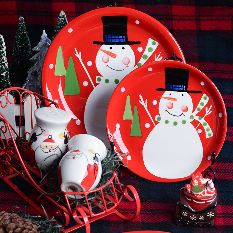 Ceramic Snow Man Plate Fast Food Tray Relish Plate Sauce Bottle Dessert Hand painted Bottle Dessert Red Dish Christmas Gift 1pc