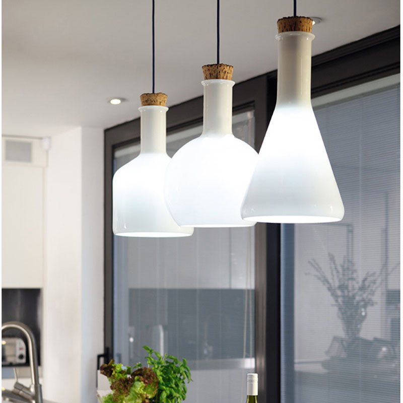 ФОТО Modern American style white magic bottle pendant light e27 lamp holder for dining room and restaurant