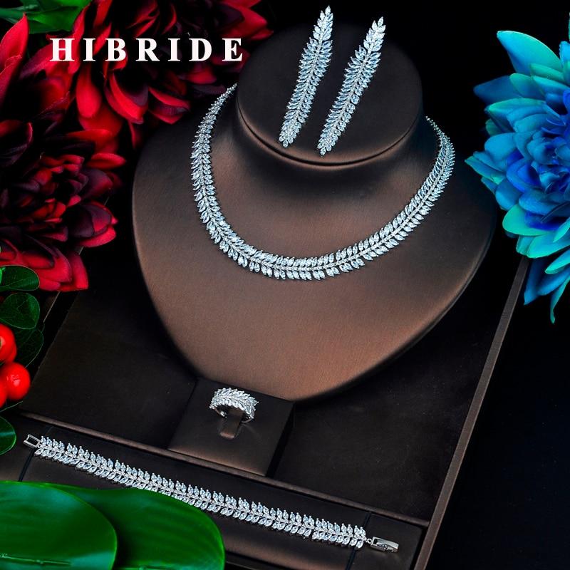 HIBRIDE Sparkling Full Cubic Zircon Jewelry Set Leaf Shape Long Tassel Dangle Brincos Necklace Set Dress