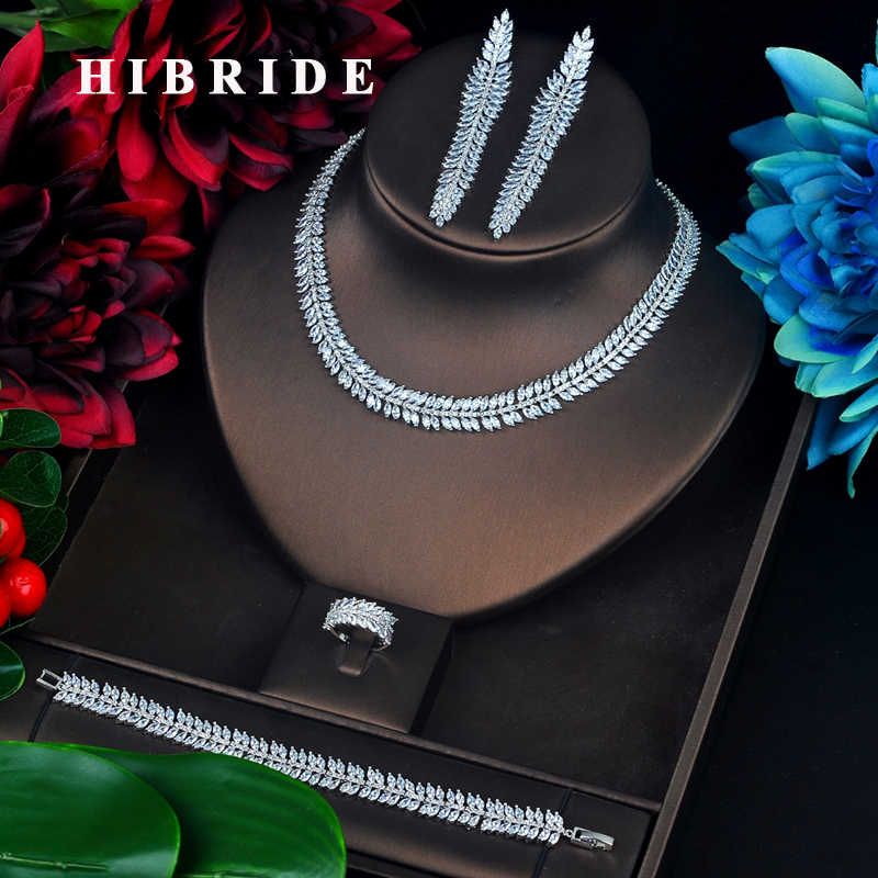 HIBRIDE Sparkling Full Cubic Zircon Jewelry Set  Leaf Shape Long Tassel Dangle Brincos Necklace Set Dress Accessories N-638