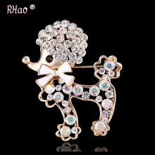 Animal brooch pins cute dog large rhinestone brooch for women gift crystal brooches jewelry