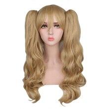 QQXCAIW длинные волнистые косплей смешанные блондинки с 2 хвостами 50 см синтетические волосы парики