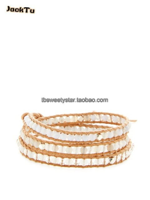 2017 new silver nuggets mixed clear crystal triple wrap bracelet