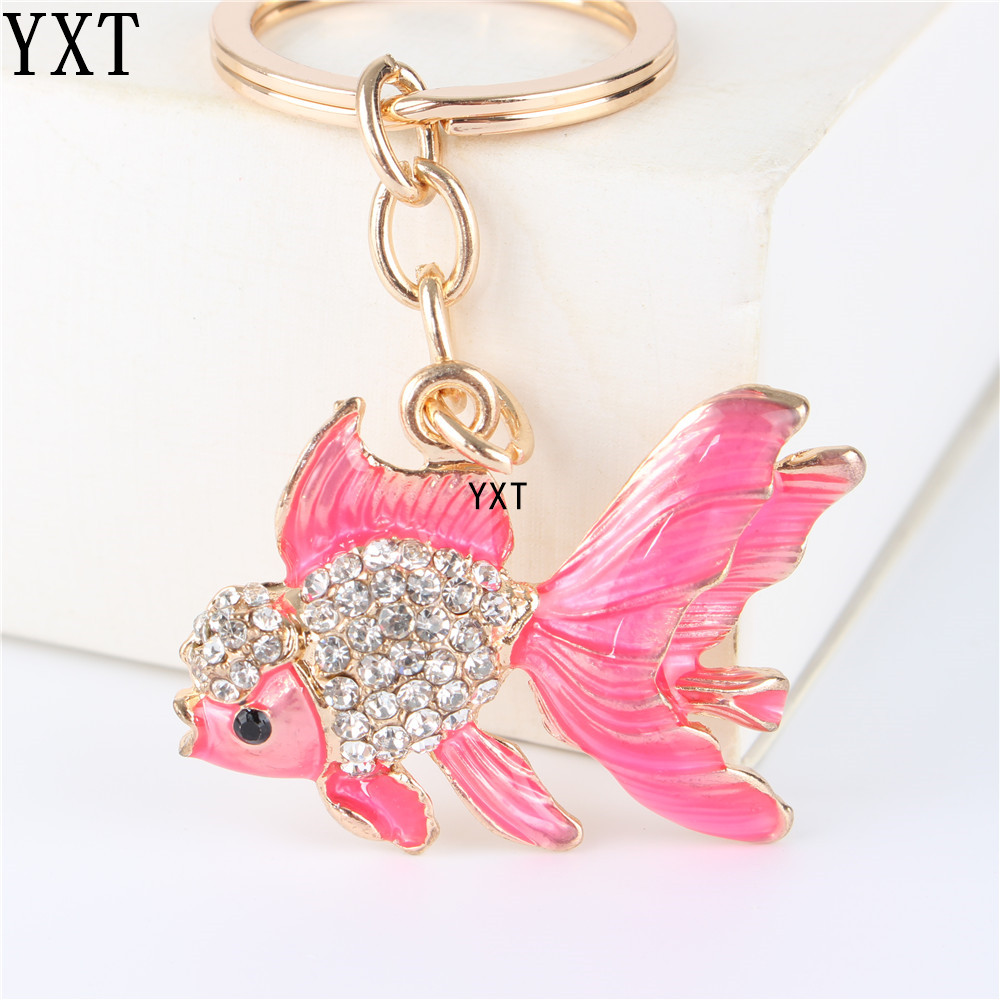 Lovely Pink Goldfish Cute Crystal Charm Purse Handbag Car Key Keyring Keychain Party Wedding Birthday Friend Lover Gift image