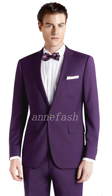 Custom Made Men Purple Wedding Suits 2017 New Gentleman Clic Slim Fit Casual Suit 3pcs