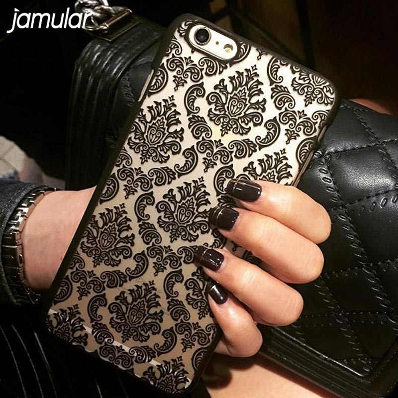 JAMULAR Hard Case Plástico Para iphone 7 6 6 S 8 Plus Size Do Vintage Flor padrão Caso Capa Para O iPhone 8 6 6 S 7 Plus 5S SE 4S cobrir
