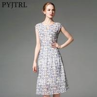 PYJTRL 2018 Summer 100 Real Silk European Women Floral Print Sleeveless Dress Womens Clothing