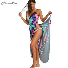 Boho Sexy Women Beach Cover Dress Up Multifunction Summer New Beachwear Tunics Butterfly Sleeveless Long Wrap Vestido Robe Femme
