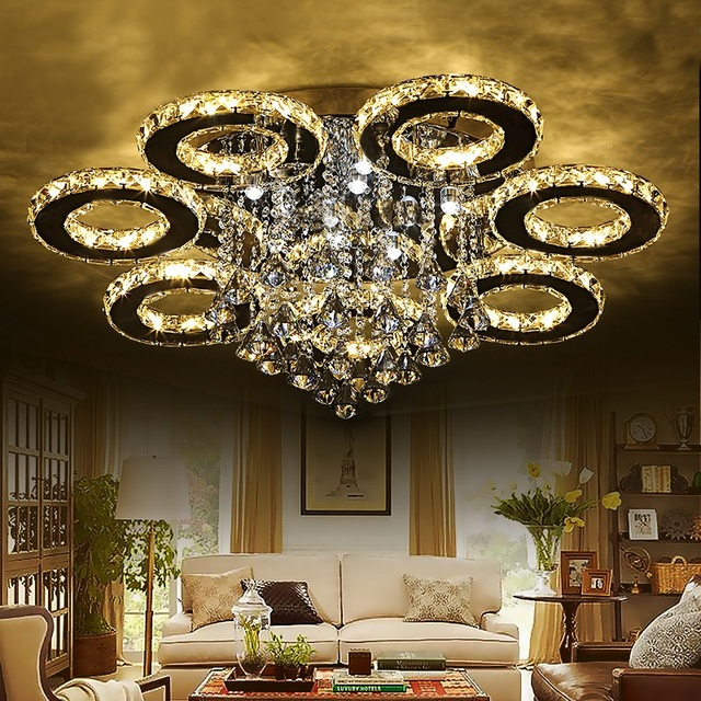 3/5/6/7/9 rings Crystal LED Ceiling Light Living Room Bedroom Dining Room Light Hotel Location Ceiling lamp