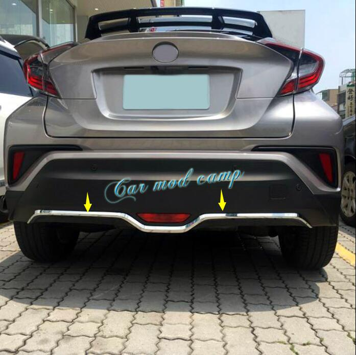 цена на For Toyota C-HR CHR 2016 2017 ABS Chrome Rear Bottom Bumper Decoration Cover Trim 1pcs Car Styling Accessories!