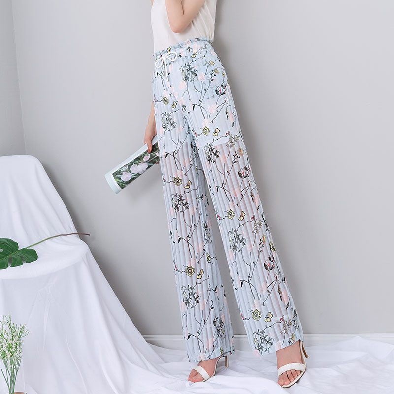 Chiffon Boho   Pants   Women 2019 Summer Pleated Print Thin High Waist Lace Up   Wide     Leg     Pants   Loose Gothic Plus Size Palazzo   Pants