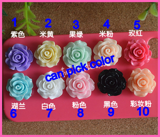 Mixed Cabochon 18mm Resin Rose Flower scrapbooking products for hairbows Diy Phone Decoration,sewing supplies