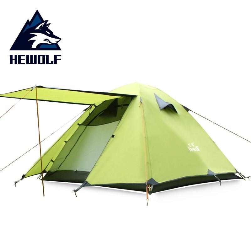 цена Hewolf 3-4 Persons Camping Tent Double Layer Waterproof Windproof Double Door Breathable Aluminum Pole Four Seasons Camping Tent в интернет-магазинах