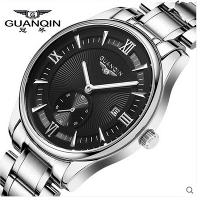 цены Watch Men Luxury Brand GUANQIN Stainless Steel Watchband Big Dial Waterproof Fashion Quartz-Watch Wristwatches Relogio Masculino