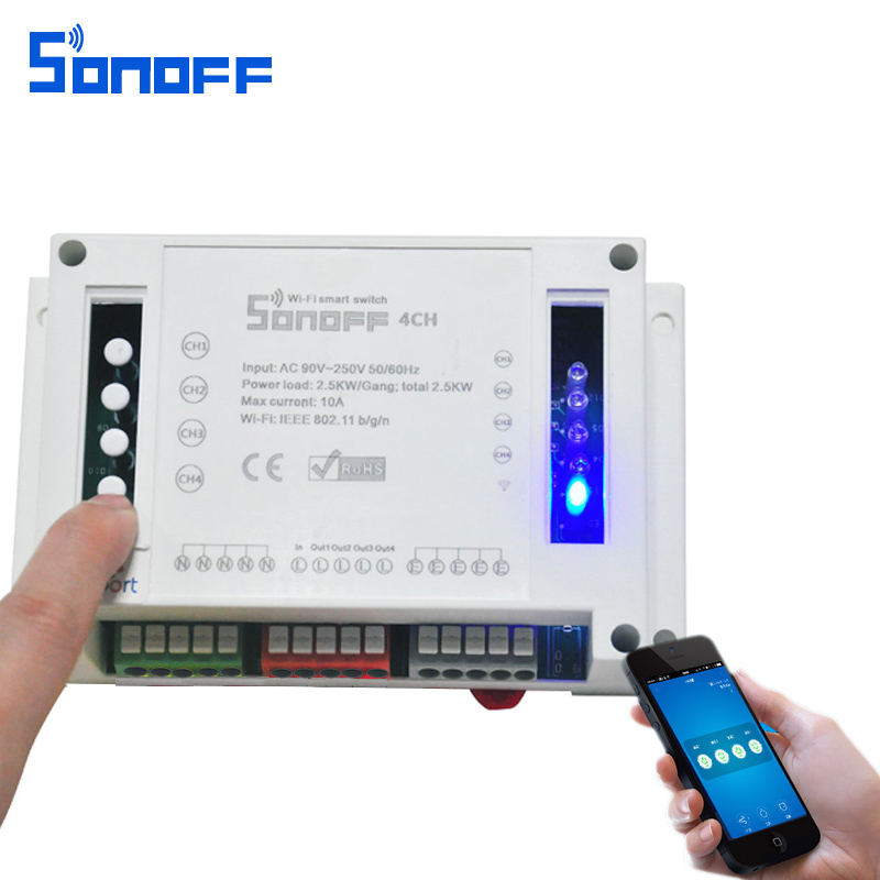 Sonoff 4CH Automation Modules WIFI Switch Smart Wireless On/Off Remote Control Switches 10A/2200W For Smart Home