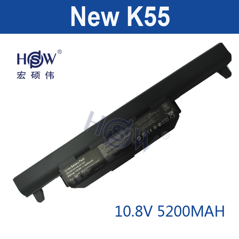 HSW 5200MAH laptop battery for asus A32 K55 A33-K55 A41-K55 A45 A55 A75 K45 K55 K75 X45 X55 X75 R400 R500 R700 U57 bateria akku