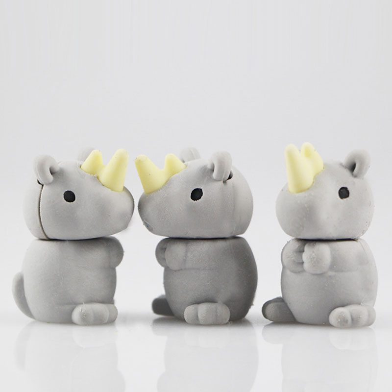 1Pcs Stationery Supplies Kawaii Cartoon Pencil Erasers Cute Rhinoceros Erasers Office Correction Supplies Kid Learning Gifts