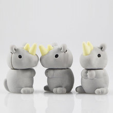 1Pcs Stationery Supplies Kawaii Cartoon Pencil Erasers cute Rhinoceros office Correction Kid learning Gifts