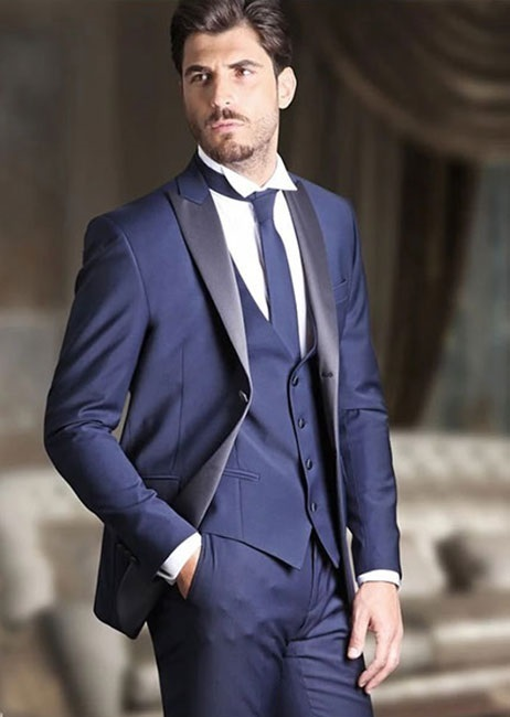 Latest Coat Pant Designs Navy Blue Peaked Lapel Custom Formal Wedding Suits For Men Groom Slim Fit 3 Piece Jacket+Vest+Pants 377