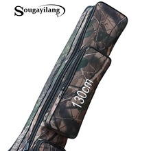 Sougayilang Waterproof Fishing Rod Bag Carrier 130cm 2-Layer Oxford Folding Fishing Pole Storage Bag Case Fishing Gear Organizer
