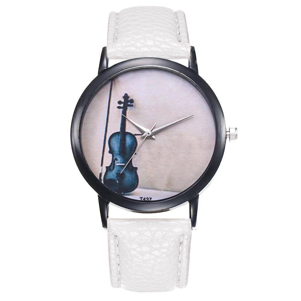 New Arrival Fashion Womens Watch Girl Casual Cello Print PU Leather Belt Quartz WristWatches Female Clocks Montre Femme Relogi#B