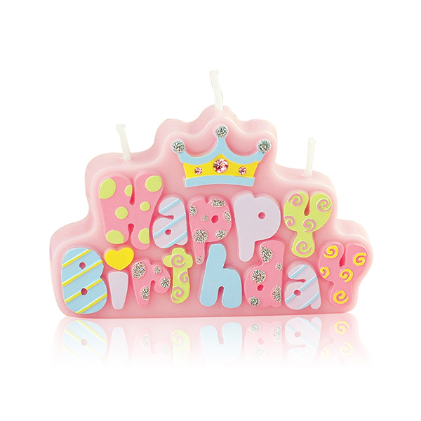 Childrens Party Birthday Candle Happy Letter Cake Crown With Decorative Diamond