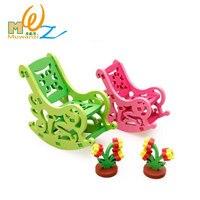 MWZ 3D Gỗ Rocking Chair Trẻ Em Set Giáo Dục Puzzle Kids Miniature Furniture Đồ Chơi Cho Cô Gái Lắp Ráp Con Búp Bê Gỗ Gh